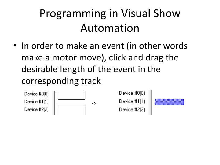 Programming in Visual Show Automation