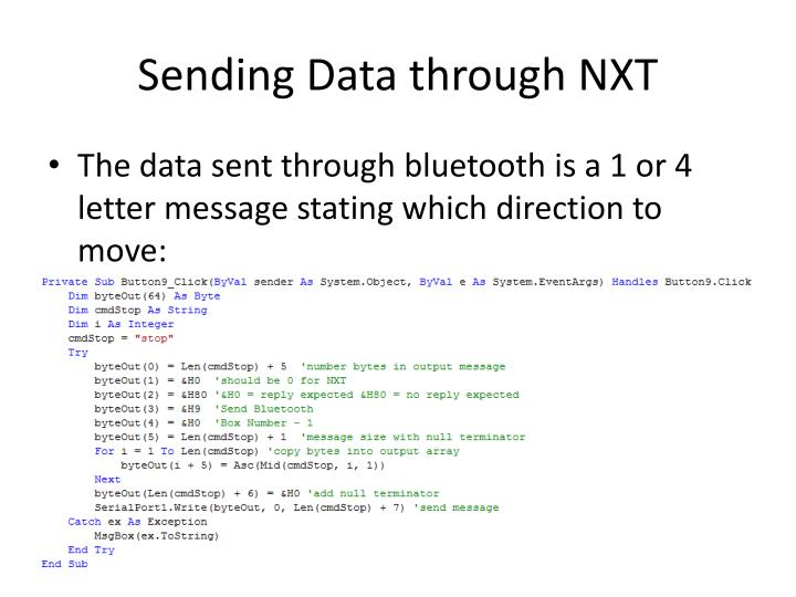 Sending Data through NXT