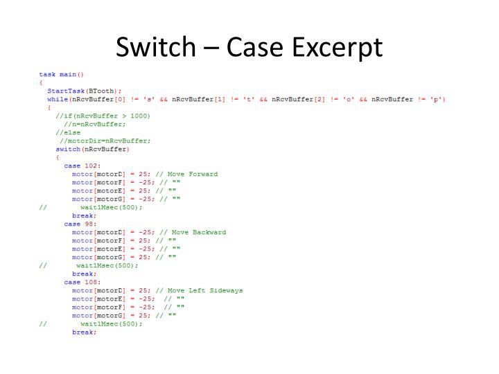 Switch – Case Excerpt