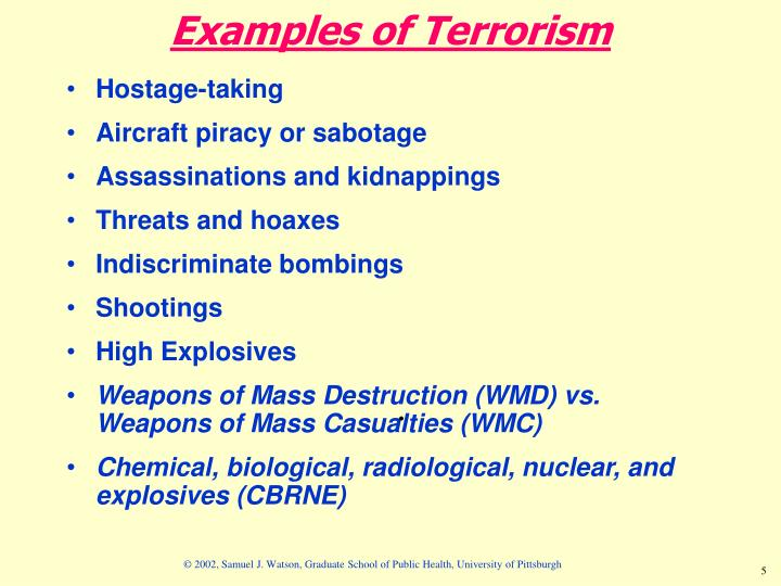 Examples of Terrorism