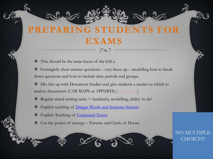 Preparing students for exams
