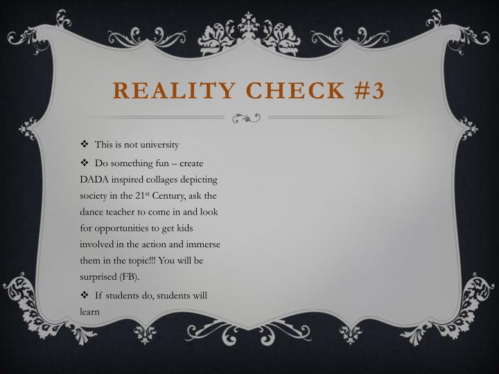Reality Check #3