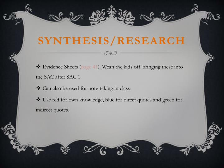 Synthesis/research