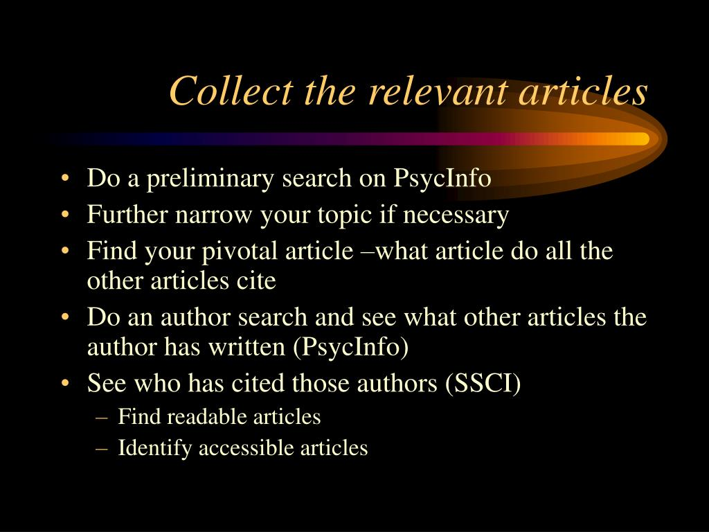 Collect the relevant articles