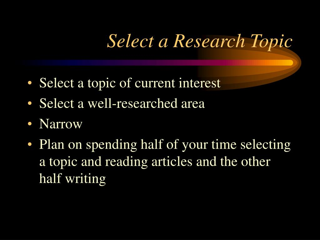 Select a Research Topic