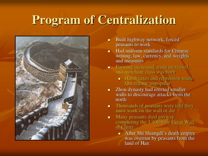 Program of Centralization