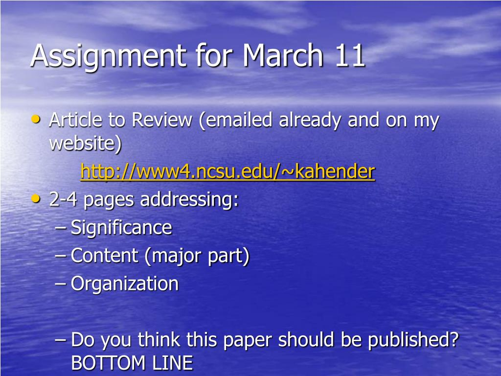 Assignment for March 11