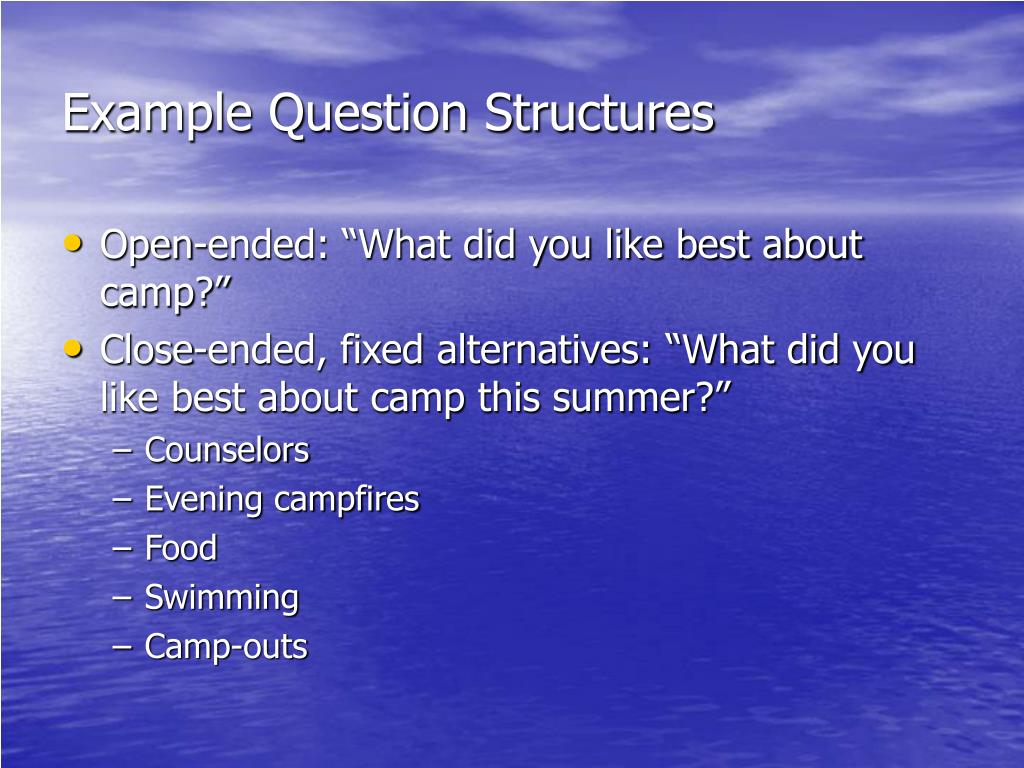 Example Question Structures