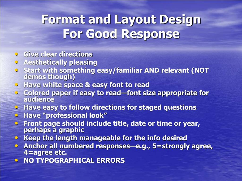 Format and Layout Design