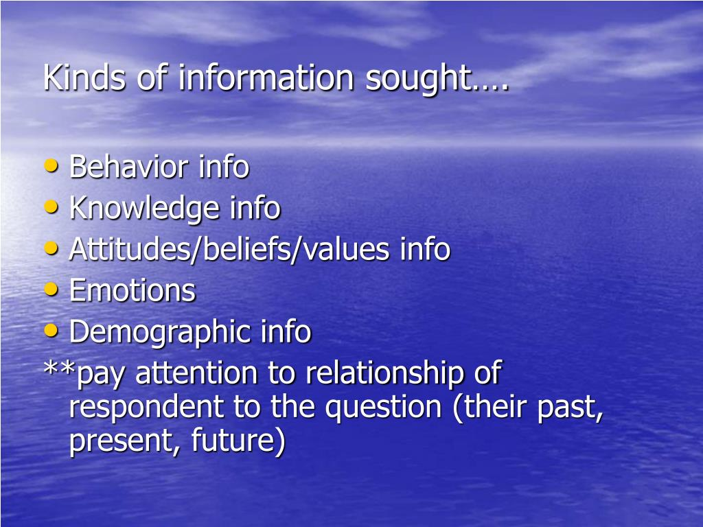 Kinds of information sought….