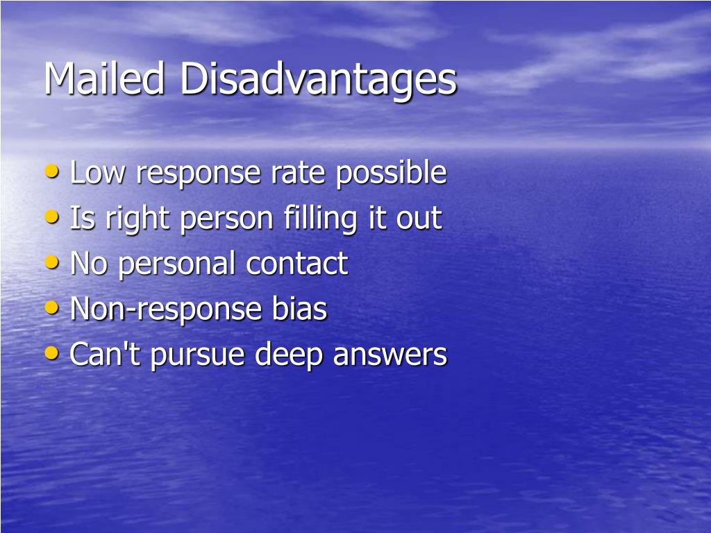 Mailed Disadvantages