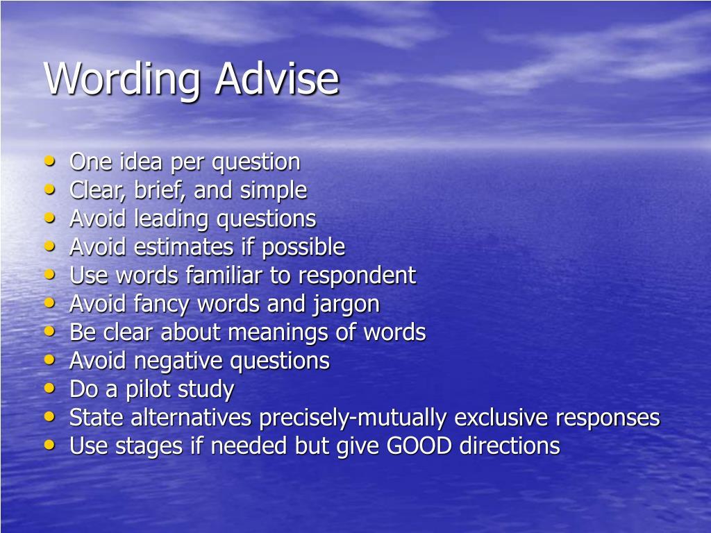 Wording Advise