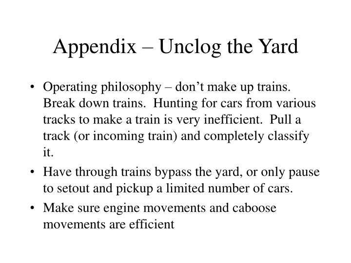Appendix – Unclog the Yard