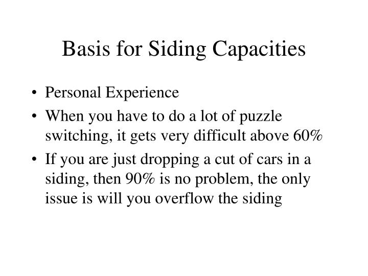 Basis for Siding Capacities