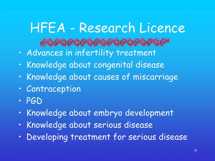 HFEA - Research Licence