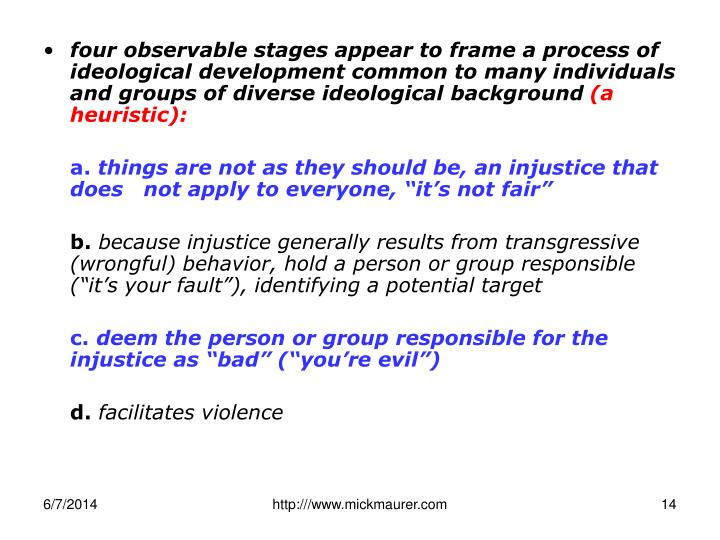 four observable stages appear to frame a process of ideological development common to many individuals and groups of diverse ideological background