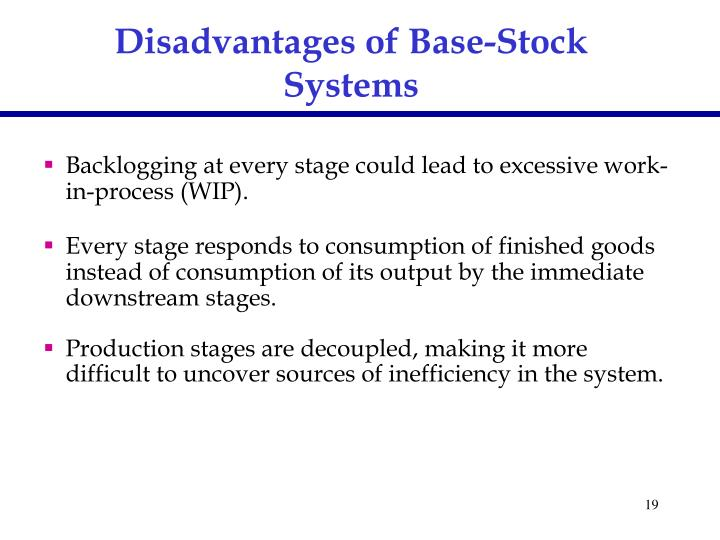 Disadvantages of Base-Stock Systems