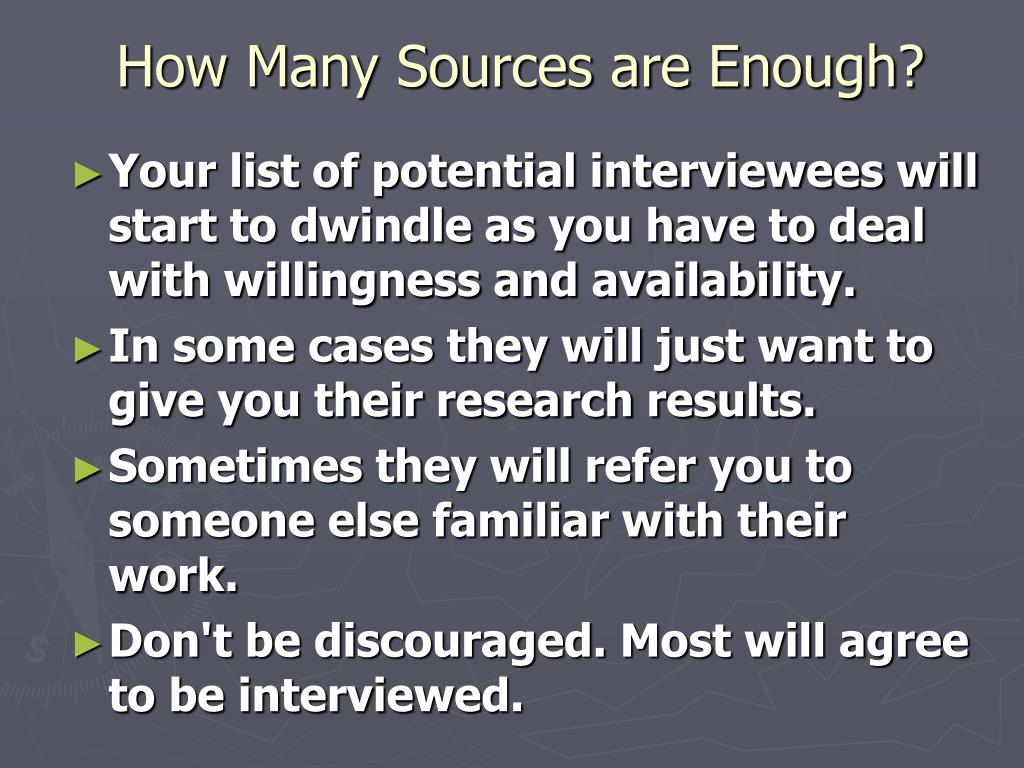 How Many Sources are Enough?
