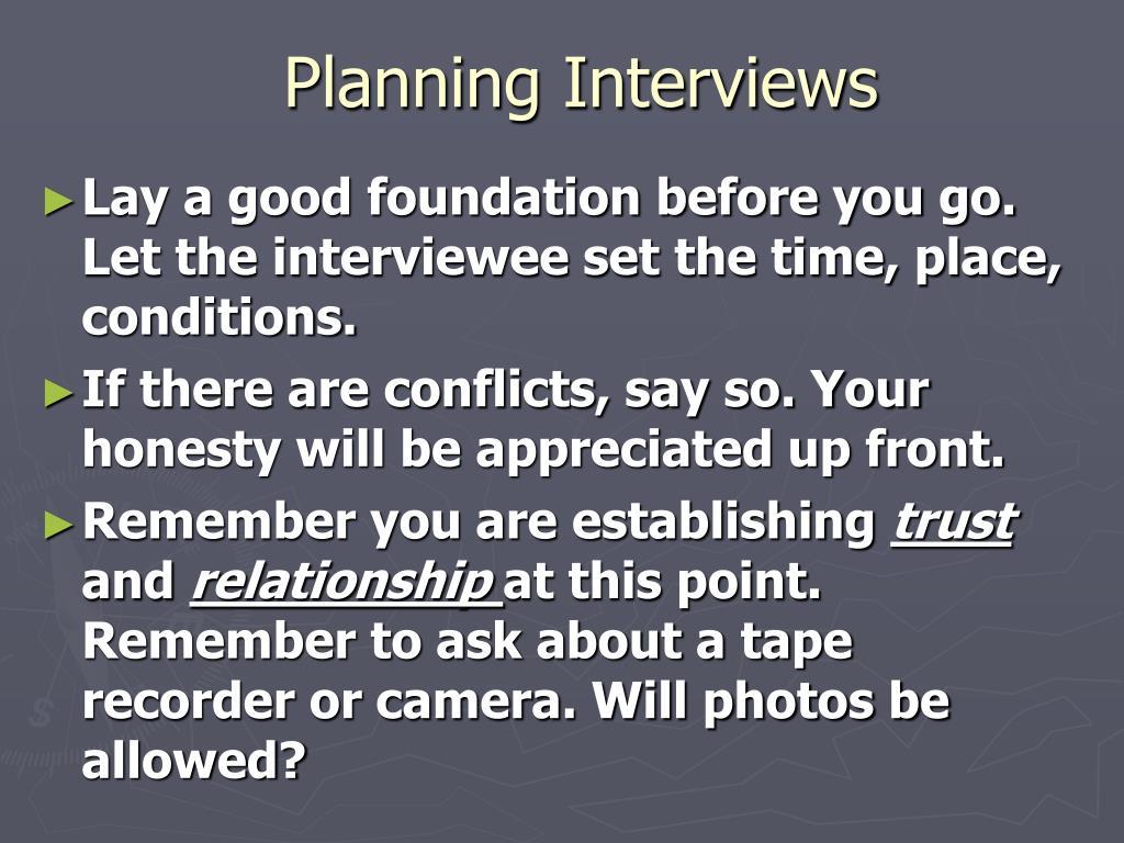 Planning Interviews