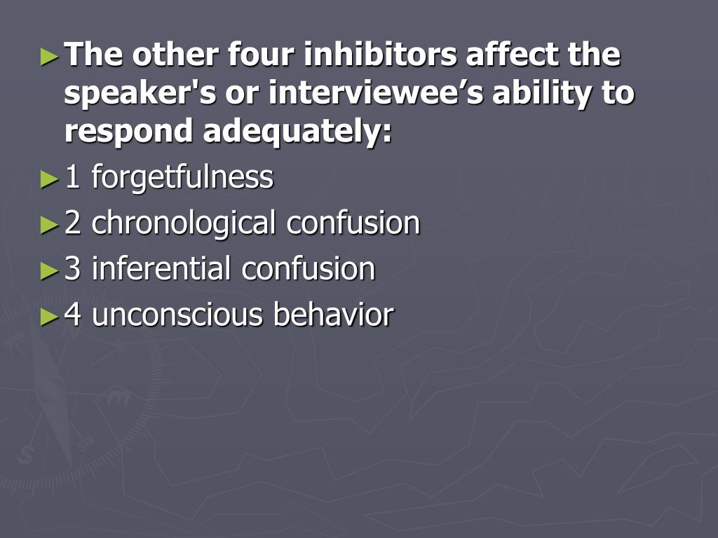 The other four inhibitors affect the speaker's or interviewee's ability to respond adequately: