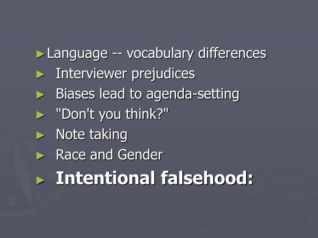 Language -- vocabulary differences