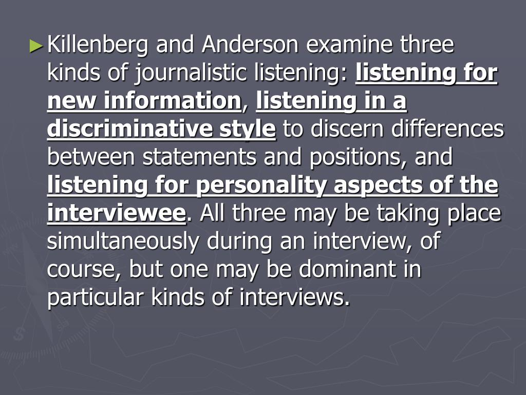 Killenberg and Anderson examine three kinds of journalistic listening: