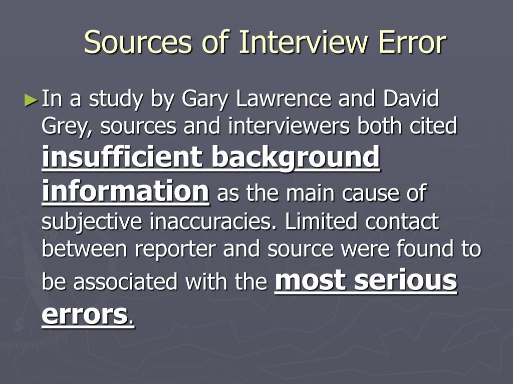 Sources of Interview Error