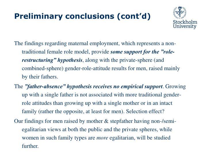 Preliminary conclusions (cont'd)