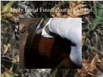 apply initial finish coat to call pot