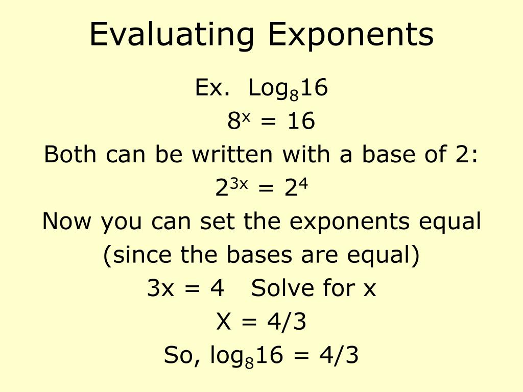 Evaluating Exponents