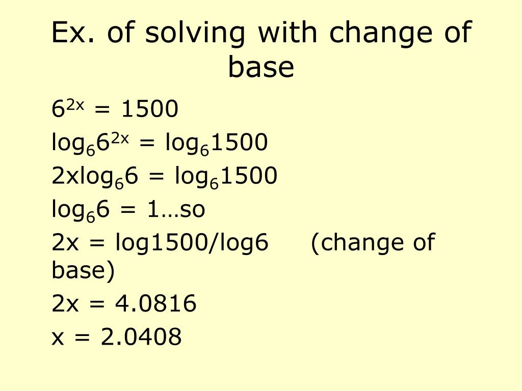 Ex. of solving with change of base