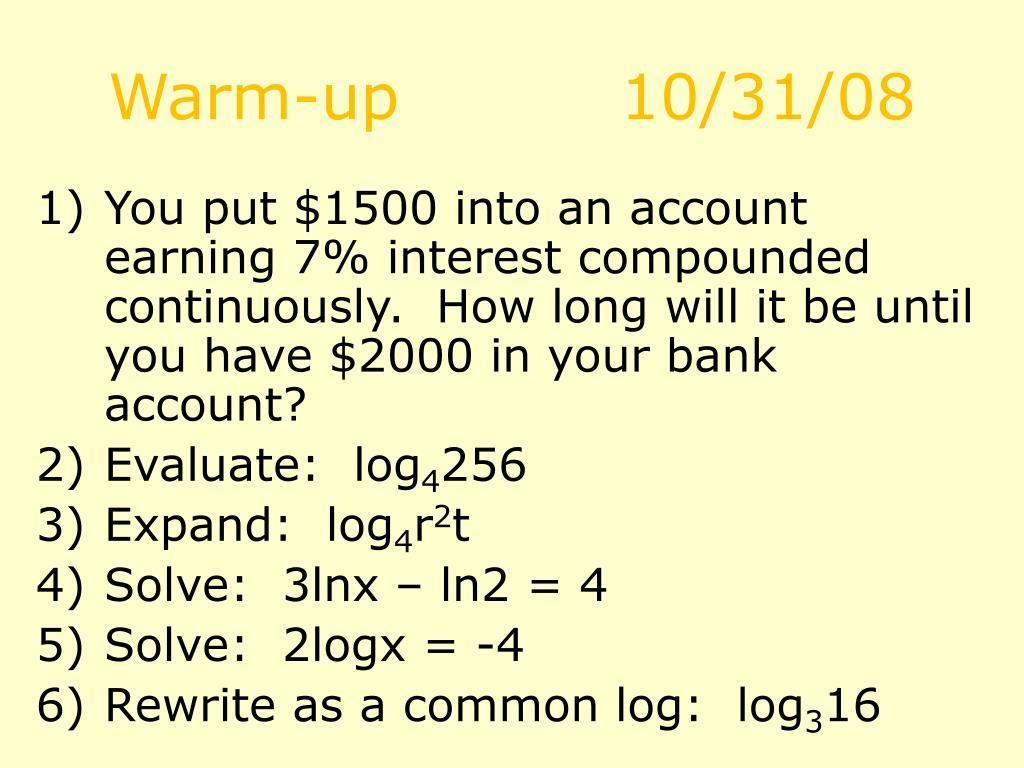 Warm-up10/31/08