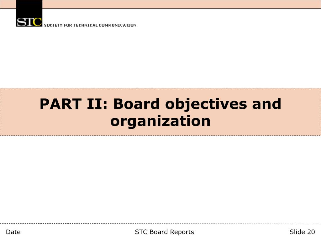 PART II: Board objectives and organization