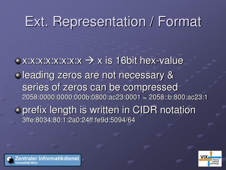 Ext. Representation / Format