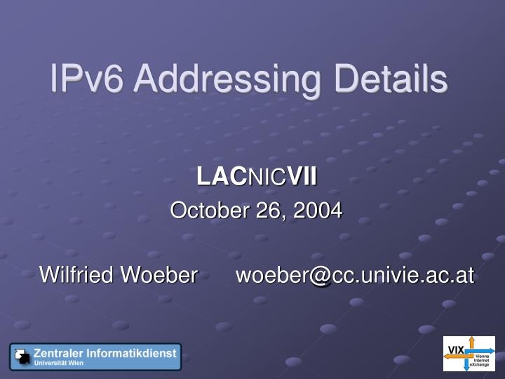 Ipv6 addressing details