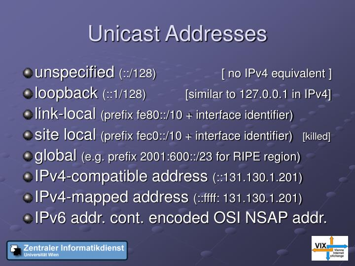 Unicast Addresses