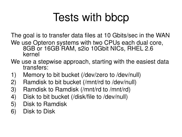 Tests with bbcp