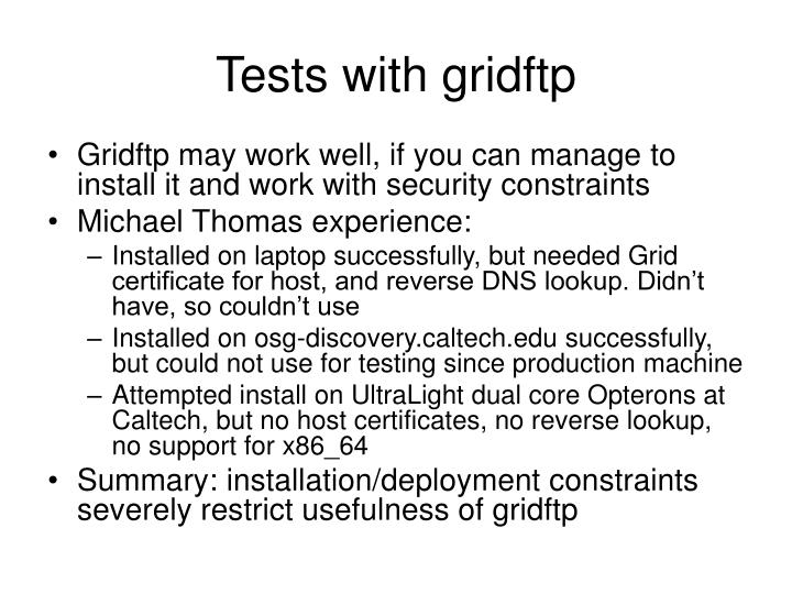 Tests with gridftp