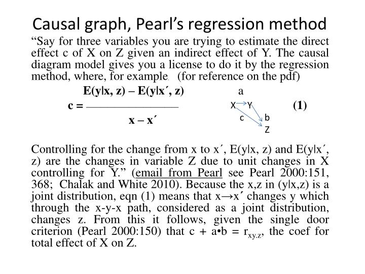 Causal graph, Pearl's regression method