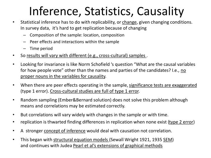 Inference, Statistics, Causality