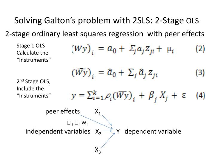 2-stage ordinary least squares regression  with peer effects