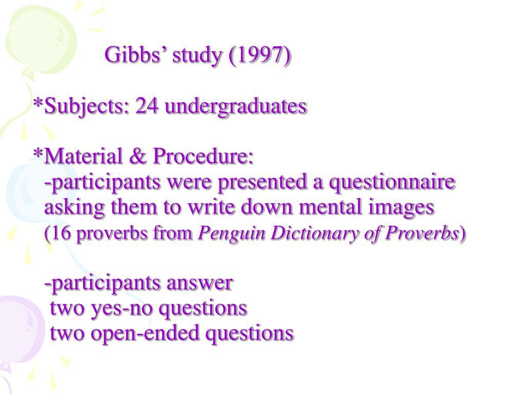 Gibbs' study (1997)