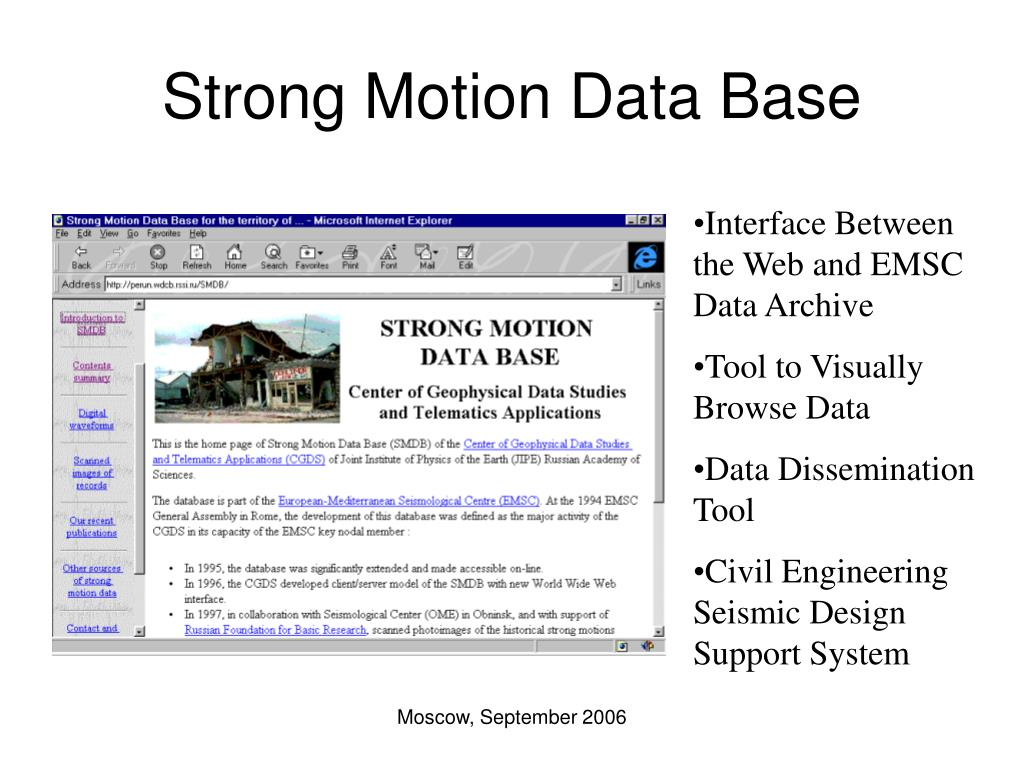 Strong Motion Data Base