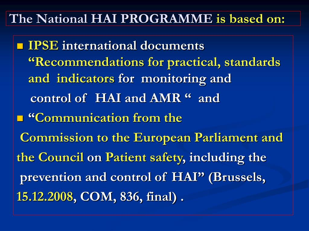 The National HAI PROGRAMME
