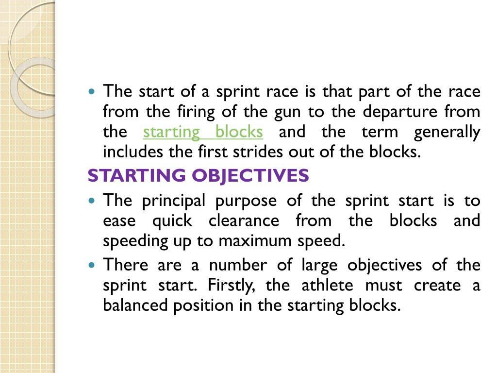 The start of a sprint race is that part of the race from the firing of the gun to the departure from the