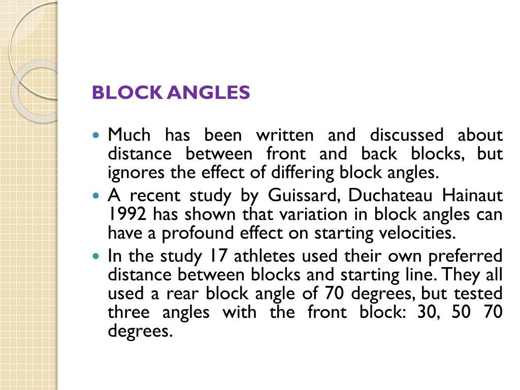 BLOCK ANGLES