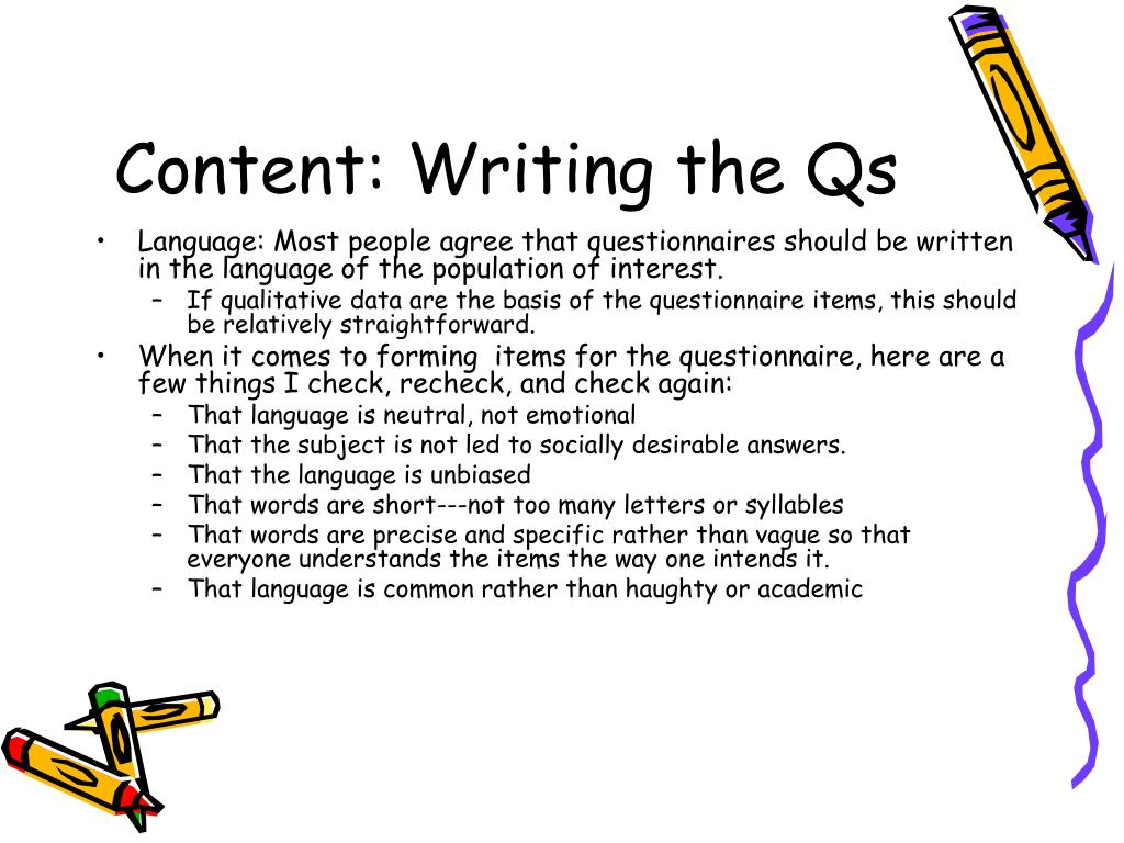 Content: Writing the Qs