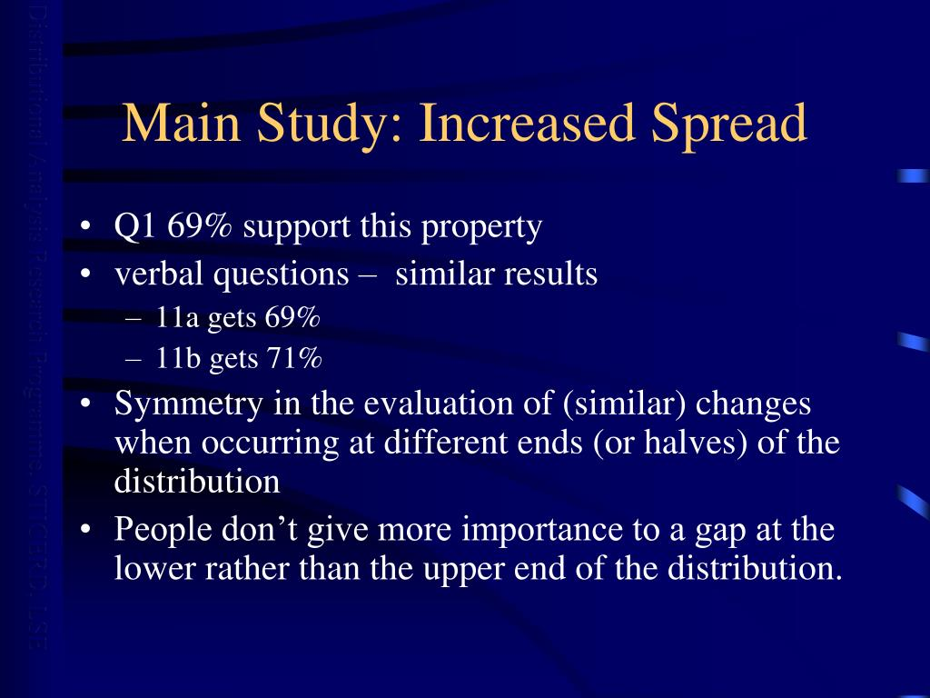 Main Study: Increased Spread