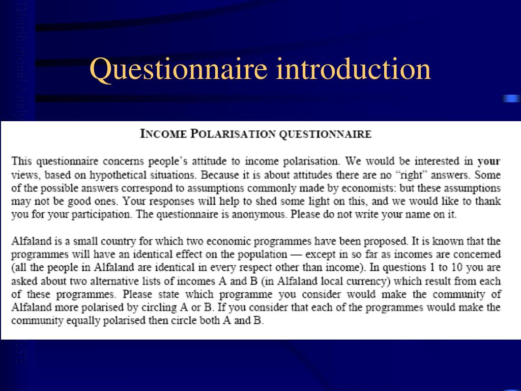 Questionnaire introduction