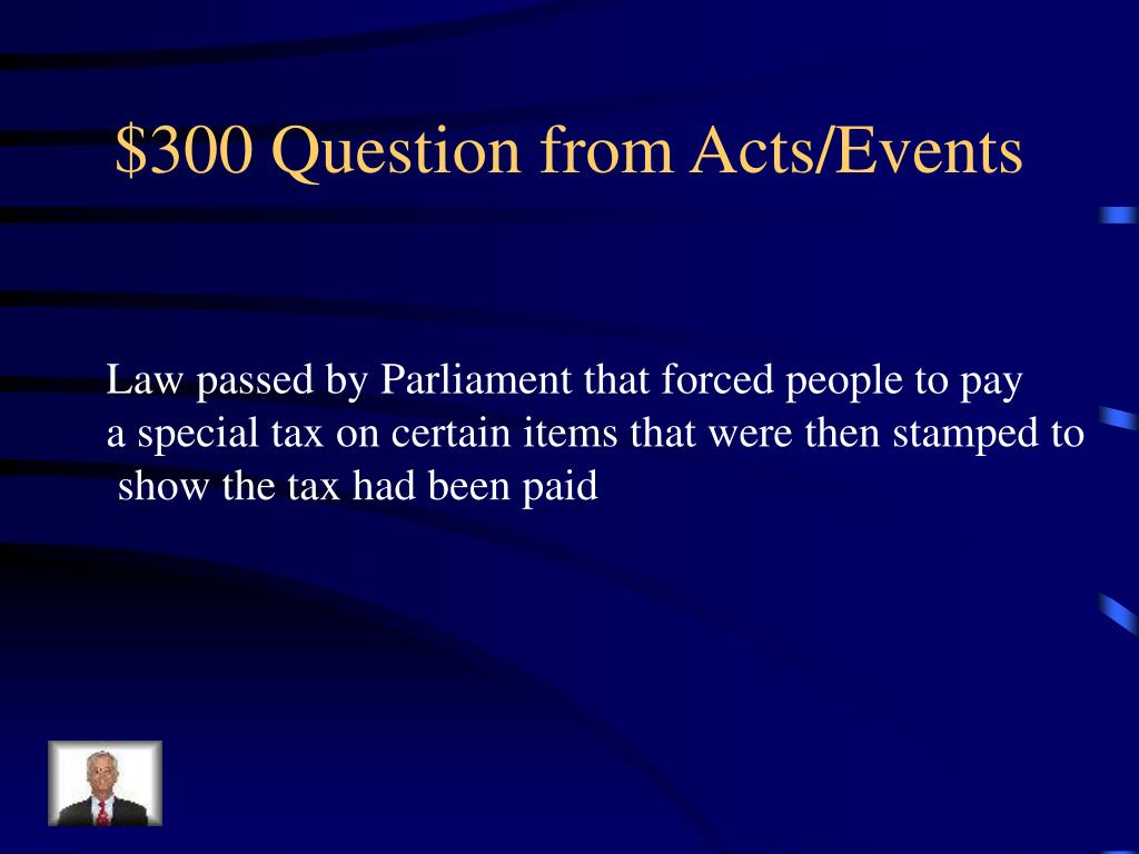 $300 Question from Acts/Events